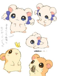 "valentine-vii: "" By ベルちぁん "" Hamtaro and Bijou my two favorite little hamsters. Pet Anime, Anime Animals, Otaku Anime, Anime Art, Cute Animals, Kawaii Chibi, Anime Kawaii, Kawaii Cute, Cartoon Cartoon"