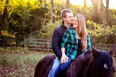 Country engagement photos with horses