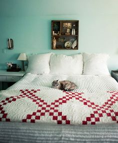 red and white quilt by glorylily