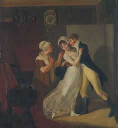 """Zuchtlose Liebe (Heinous Love) by Susanne Henry, c. 1800 << featured as part of a series Schlechte und gute Erziehung (Bad and good education). Not certain how """"zuchtlose"""" translates to """"heinous"""" as posted in Wikimedia; comes across as """"breeding a lot of"""" or """"generating a lot of"""" something -- in this case, love. The older woman clearly enjoys the man's sentiment though the target seems a bit put out or reluctant."""