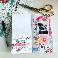 Travelers notebook lay-out with Amy  Tangerine collection. #ohhappylife #travelersnotebook