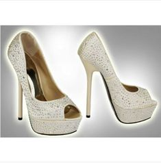 Champagne Diamante Embellished Court Sexy Heels, High Heels, Shoes Heels, Diamante Shoes, Court Heels, White Sandals, Champagne Color, Winter Boots