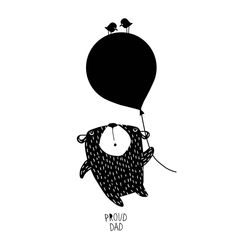 Bear and Ballon children illustration in black and white / monochromatic drawing for kids by Proud Dad Kids Room Art, Art Wall Kids, Monochromatic Drawing, Animals Black And White, Bear Illustration, Doodle Designs, Cute Animal Drawings, Bear Art, Black And White Illustration