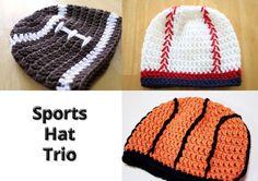 Crochet Sports Hat Set, baseball basketball and football hat trio, Newborn Photo Prop
