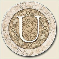 """Custom & Cool {2.5"""" Inches} One Single Round """"Grip Texture"""" Small Drink Cup Coasters Made of Ceramic w/ Fancy Monogram Capitol Letter U Design [Tan Colored] mySimple Products"""