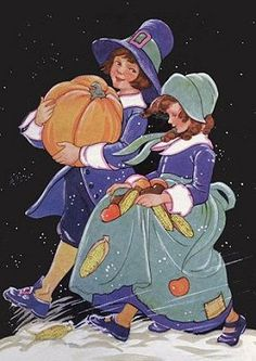 Vintage Pilgrim Boy & Girl Thanksgiving illustration.