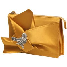 N°21 Women Knotted Satin Clutch W/ Bird Appliqué ($480) ❤ liked on Polyvore featuring bags, handbags, clutches, applique handbags, satin handbags, satin clutches, yellow purse and satin purse
