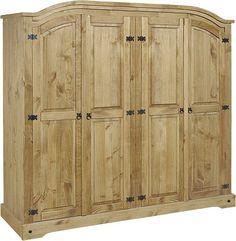 Mercers Furniture Corona Mexican Pine 4 Door Arch Top Wardrobe