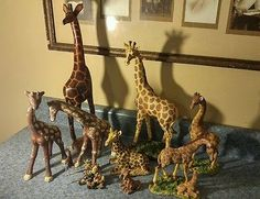 Vintage Collection of 10 Giraffes - Wood, Glass, plastic,