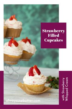 These Strawberry Filled Cupcakes are the ultimate summer cupcake, and loved by kids and adults alike. Easy to make with the best vanilla cupcake recipe, fresh strawberries and whipped cream they come together in under an hour. This is a recipe that tastes of Swedish summer, and is perfect for your Swedish Midsommar (Midsummer) celebrations, but just as delicious for a 4th of July or Independence Day celebration. Maybe add a few blueberries and make it a red white and blue cupcake? Strawberry Filled Cupcakes, Cream Filled Cupcakes, Cupcake Cream, Cream Frosting, Best Vanilla Cupcake Recipe, Easy Cupcake Recipes, Dessert Recipes, Desserts, Strawberry Whipped Cream
