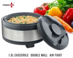 Don't get stuck serving unexpected guests dishes in servingware that allows your food to go cold!  The Power Plus Casserole dish is perfect for locking in the taste, freshness and quality of your delicious cooking because it has the following features:  Double-wall insulation to lock in the temperature and taste Air-tight lid so that the quality of your cooking is preserved Stainless steel construction for durability Easy to wash and dishwasher safe