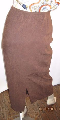 Freeport Studio Size 6 Long Soft Brown Skirt with Side Zipper & Back Slit #FreeportStudio #StraightPencil