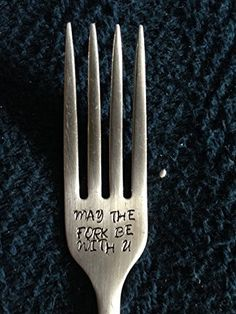 May The Fork Be With U ~ Hand Stamped Fork (or spoon). Unique Gift for the Star Wars Lover in your Life. Pre-Owned or New Flatware Available