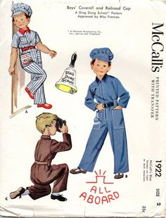 McCalls 1922 Ding Dong School Coveralls Cap Pattern Size 2 Chest 21 UC