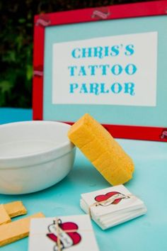 Tattoo parlor (wedding activity) - LA Carnival inspired engagement party by LMarie Photography