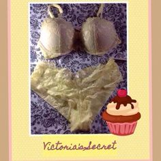 🆕Victoria's Secret Bra Set Body by Victoria Push-up Butter Soft Yellow Lace over a Soft Taupe with Matching Lace Panty. The Bra is a 34B and The Panty is size Medium Full Panty. Victoria's Secret Intimates & Sleepwear Bras