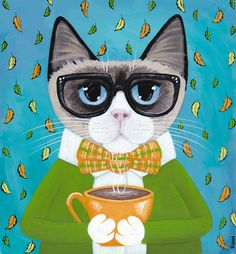 Autumn Siamese Coffee Cat Original Folk Art Painting by KilkennycatArt