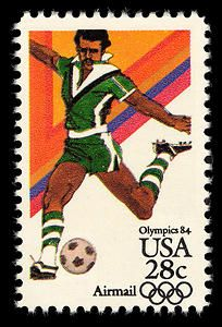 Olympic football, or soccer, has been an integral part of the Olympic games since 1900.  This 1984 stamp highlights the popular sport.