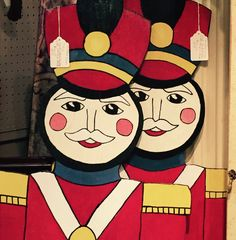 Happy, hand-painted, wooden soldiers w stand -- perfect for the holiday season! T214 $55 each #GasLampToo #128PowellPl #YourHolidayHelper