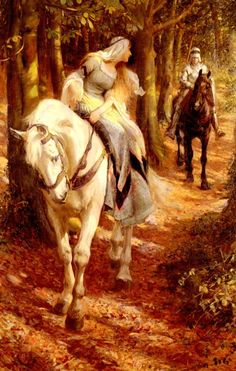 A Knight and His Fair Maiden  (Enid and Geraint ~ Rowland Wheelwright [British Painter, 1870-1955])
