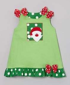 Take a look at this Lime Santa Jumper - Infant, Toddler & Girls by Wiggles and Giggles on #zulily today!