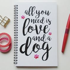 DONE! Writing journal, spiral notebook, bullet journal, cute journal, white sketchbook, blank lined grid - All you need is love and a dog