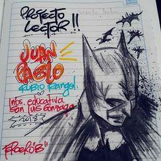#marcamostuscuadernos #diseñospersonalizados #batman #mijp My Notebook, Crafts For Kids, Joker, Banner, Batman, Bullet Journal, Lettering, School, Drawings