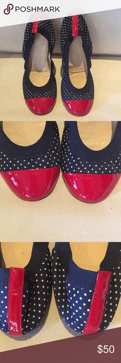 J. Crew - Red, White, and Blue Ballet Flats Super cute!  I bought them and they were too small on me because I went up a half size.  They are in great condition! J. Crew Shoes Flats & Loafers