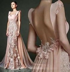 Gorgeous Pale Pink Gown With Flower Detail and Flowing Train Couture Dresses, Bridal Dresses, Fashion Dresses, Prom Dresses, Fashion Heels, Beautiful Gowns, Beautiful Outfits, Gorgeous Dress, Elegant Dresses