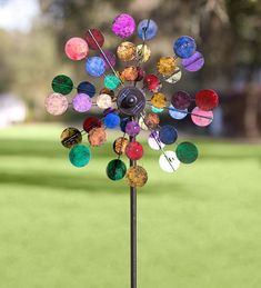 Plow & Hearth Solar Sparkler Wind Spinner, Powder-Coated Metal with LED Lights, Multicolored, 24 in dia. x 10 in D x 75 in H Unusual Garden Ornaments, Lawn Ornaments, Kinetic Wind Spinners, Colored Bubbles, Wind Sculptures, Metal Garden Art, Garden Statues, Garden Sculptures, Sparklers