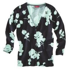 It's a brighter blue in person - Merona® Womens 3/4 Sleeve V-Neck Cardigan Sweater - Floral