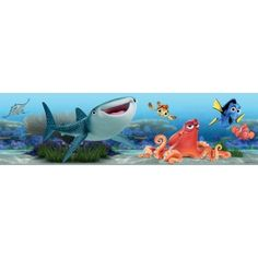 Finding Nemo x Matte Peel & Stick Wallpaper Border Disney Pixar Disney Pixar, Disney Cars, Baby Disney, Disney Characters, Office Canvas, Disney Nursery, Baby Mouse, Cute Disney Wallpaper, Decorate Your Room