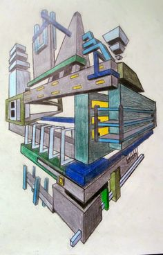 Space Museums- 2-3 Point Perspective drawings