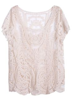 Apricot Short Sleeve Hollow Crochet Lace Top - Sheinside.com Mobile Site
