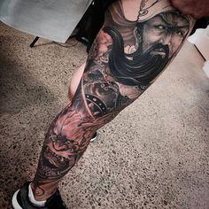 Chronic Ink Tattoo - Toronto Tattoo Guan Yu leg sleeve tattoo (in progress) done…