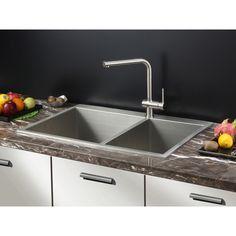 Stainless Steel Double Bowl 70 30 Overmount Sink | 8143 Qualità In Acciaio  Inox Doppio Lavello Ciotola 81*43*21cm Slot | Foreman Chateau | Pinterest |  Sinks ...