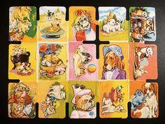 Láminas de cromos troquelados antiguos- Perritos y gatos
