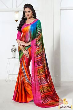 The nice pink and orange georgette printed party wear saree is having nice and beautiful multi color lining printed work on comfortable georgette material.