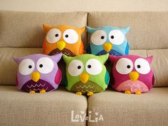 PINK OWL CUSHION RainbOWL Decorative plush pillow by lovelia