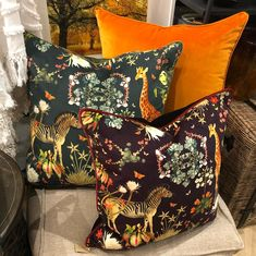 Luxurious velvet cushions with African animal prints