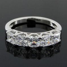 1.95ct VVS1 Asscher Cut Diamond 14k White Gold Prong Set Wedding Band Ring #Affinityjewelry #WeddingBand
