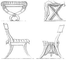 This is an illustration of ancient Greek furniture.  Although it is not reflected in this photograph, the Greeks often depicted the feet of their furniture like that of an animals, utilizing both front and back paws.  This design style was also utilized by the Egyptians in creating some of their ancient furniture.  Height was also utilized to depict social standing when making seating apparatus.  This style was used in both the above mentioned cultures.