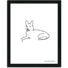 $32.46 Personal-Prints German Shepherd Dog Line Drawing Framed Art