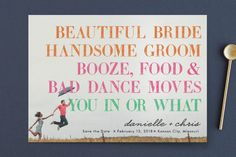 """""""You In or What?"""" - Whimsical & Funny, Modern Save The Date Cards in Tangerine by hi-lighter inc.."""