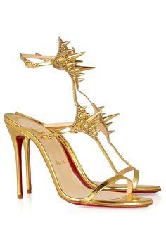 Christian Louboutin Lady Max 100 Spike-Embellished Metallic