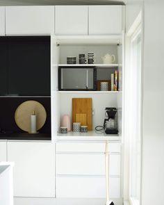 Coffee Station Kitchen, Kitchen Interior, Kitchen Dining, Bookcase, Bar Ideas, Shelves, Kitchen Inspiration, Kitchen Ideas, Cabinet
