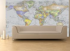 Gray Oceans World Political Map Wall Mural - Miller Projection
