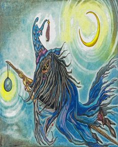 Mystical Flying Witch on Broom and Crescent by DreanasDragonflyPie, $10.00