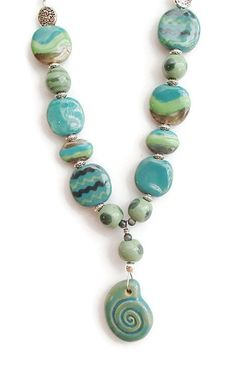 Kazuri Bead Necklace. Ethnic. African Fair Trade Beads. Handmade Beads. Shell Pendant Clay. Clay Beads by riversedgecreations. Explore more products on http://riversedgecreations.etsy.com