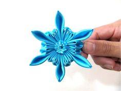 Moños en cintas para el cabello diseño flor estrella azul - YouTube